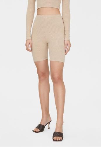 Pomelo beige Ribbed Biker Shorts - Beige FA60AAAEEA4569GS_1