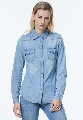 Sisley blue Denim Shirt. 1E4C4AA5F9BE2DGS_1