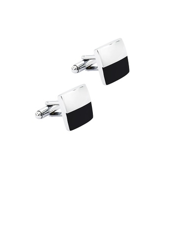 Glamorousky silver Fashion Simple Black and White Two-color Geometric Square Cufflinks EB476ACBB29897GS_1