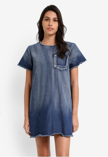 Something Borrowed blue Destroyed Pocket Denim A-line Dress 962BFZZ3DC74F2GS_1