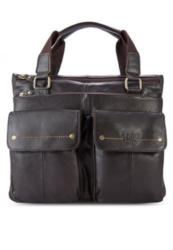 雙翻蓋口袋皮革手提包, 包, 飾品配esprit outlet hk件