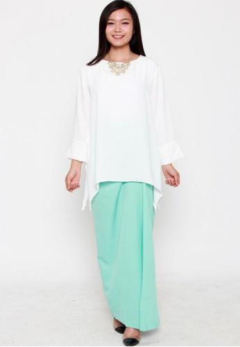 Naphthys Collection green Thara Long Draped Skirt NA003AA14DIVSG_1