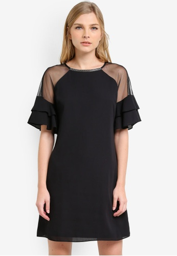 Dorothy Perkins black Embellished Neck Mesh Shift Dress DO816AA0S2J1MY_1