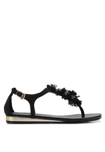 VINCCI black Sandals With Floral Detail VI831SH0SY7YMY_1