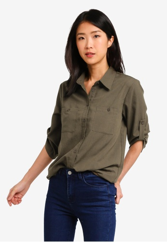 ZALORA BASICS green Basic Rolled Sleeves Pocket Shirt 37F81AA1F36E88GS_1