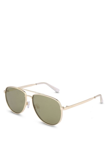 Le Specs gold Hard Knock Sunglasses 41F9DGL3FCF7CAGS_1