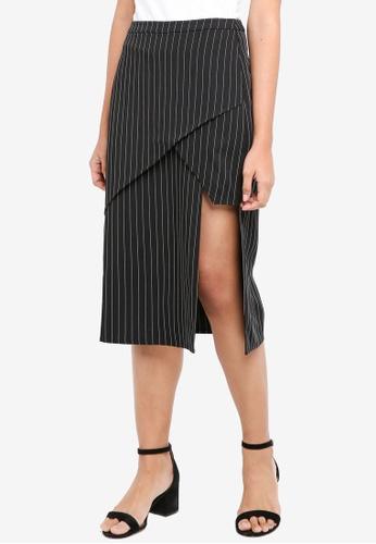 Something Borrowed black Asymmetric Panelled Midi Skirt FBC9BAA68A0692GS_1