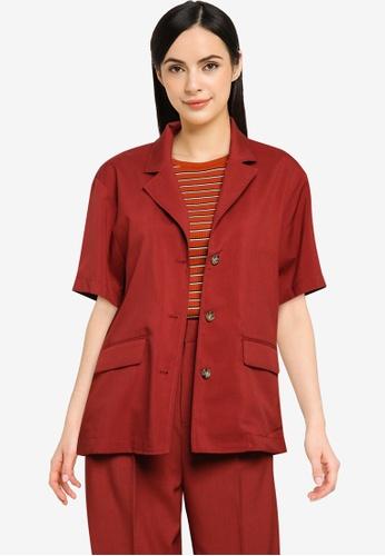LOWRYS FARM red Linen-Like Shirt Jacket 5CB09AAA10848CGS_1