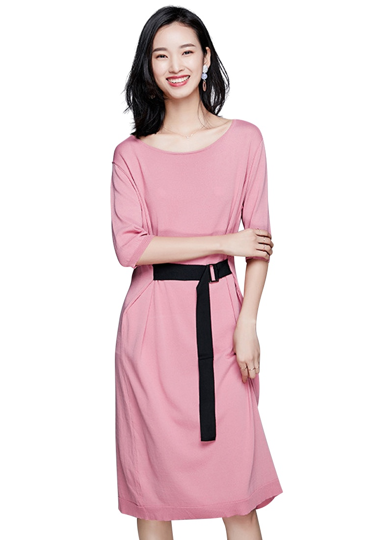Dress Knit Sunnydaysweety Belted Temperament Pink New Piece CA040905PI One 7TxSaBWan