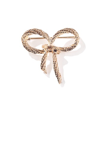 Glamorousky silver Simple and Fashion Plated Gold Ribbon Brooch 24672AC92A7EC2GS_1