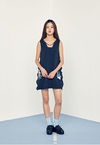 Love 側荷葉飾連身裙, 服飾, 印zalora時尚購物網評價花時代