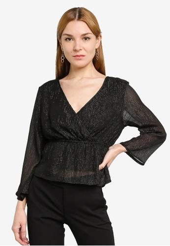 JACQUELINE DE YONG black Glam 7/8 Top 14C20AA17D1738GS_1