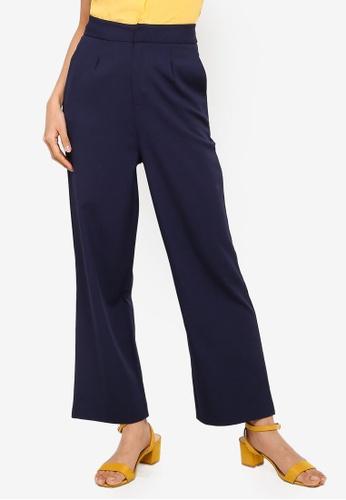 ZALORA 海軍藍色 高腰直筒褲 8D753AA682F9CDGS_1