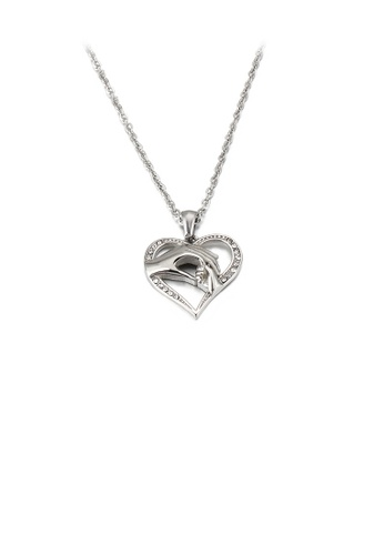 Glamorousky white Fashion and Elegant Holding Hands Heart-shaped 316L Stainless Steel Pendant with Cubic Zirconia and Necklace 2C159AC85A0EE6GS_1