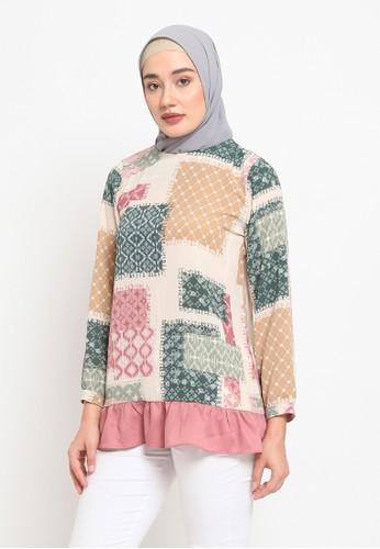 Heart n Feel Muslim pink Naura Ruflle Blouse B41BCAA359C18CGS_1
