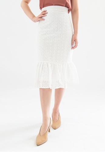 Love Knot white Wonda Ruffle Hem Eyelet Skirt (White) 8498FAA9CFD705GS_1