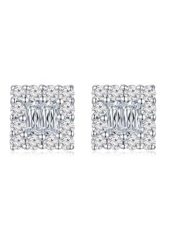 MaBelle silver 18K/750 White Color Gold Diamond Square Earrings 60B6CAC84CBF19GS_1