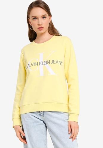 Calvin Klein yellow A-Vegetable Dye Crew Neck Pullover - Calvin Klein Jeans 9E590AAE5C486EGS_1