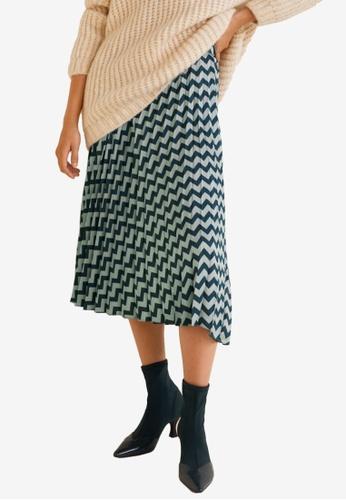 Mango green Zig-Zag Print Pleated Skirt 69C0EAA709BD1FGS_1