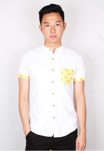 Moley white Mandarin Orange Print Mandarin Collar Short Sleeve Shirt C1D46AA492466FGS_1