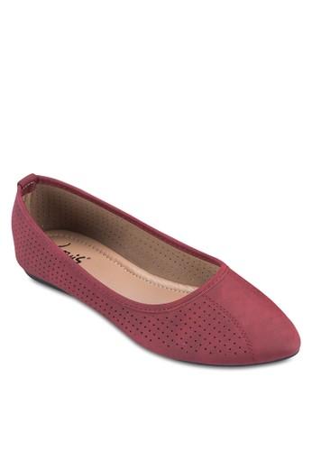 沖孔休閒尖esprit旗艦店頭平底鞋, 女鞋, 芭蕾平底鞋