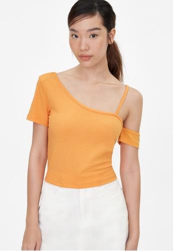Pomelo orange One Shoulder Strap Crop Top - Orange 897E1AA979D6C1GS_1