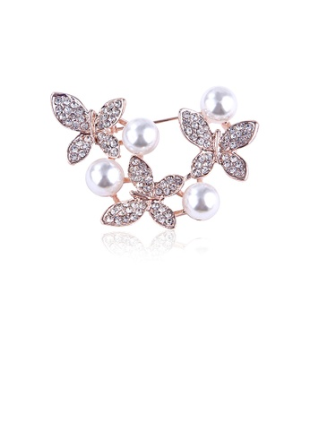 Glamorousky white Elegant and Bright Plated Rose Gold Butterfly Imitation Pearl Brooch with Cubic Zircon 0ACCFACFDE4A85GS_1