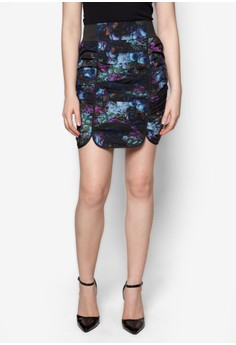The Secret Garden Ruched Floral Pencil Skirt in Purple