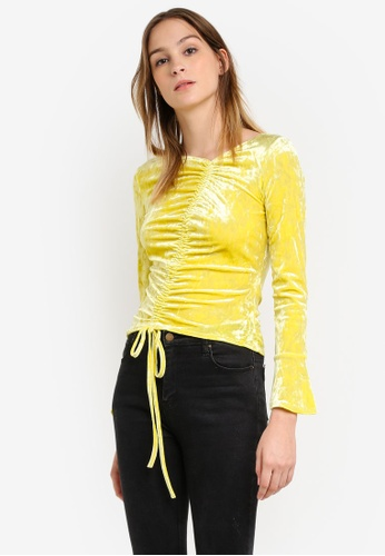Miss Selfridge yellow Chartreuse Velvet Drawstring Top MI665AA0RZH4MY_1