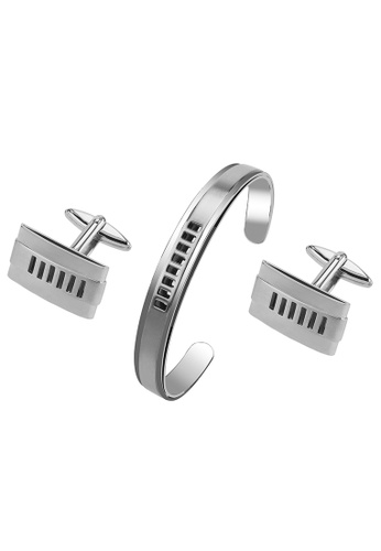 CUFF IT silver Stainless Steel Cut Out Stripes Cufflinks and Bracelet Set 17B08ACA9D356FGS_1