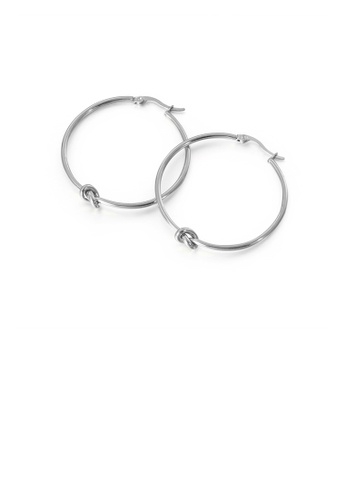 Glamorousky silver Simple Personality Geometric Circle Knotted 316L Stainless Steel Earrings 42mm 77D0BACD2BC016GS_1