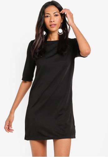 ZALORA BASICS black Basic Elbow Sleeves Shift Dress DEA38AA63D59C2GS_1