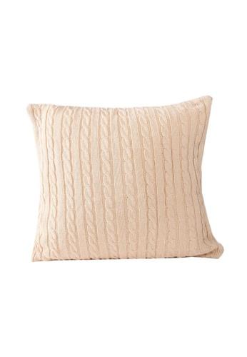 DILAS HOME Cable Knit Cushion Cover (Beige) 02C45HLF56DE7AGS_1