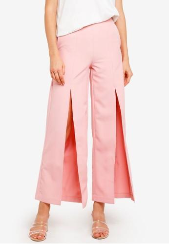 Lavish Alice pink Front Split Wide Leg Trousers 4ADBFAA3EDE314GS_1