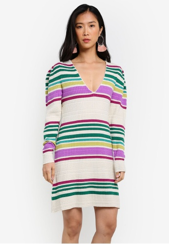 Free People white and multi Gidget Sweater Mini Dress FR659AA0RWNMMY_1