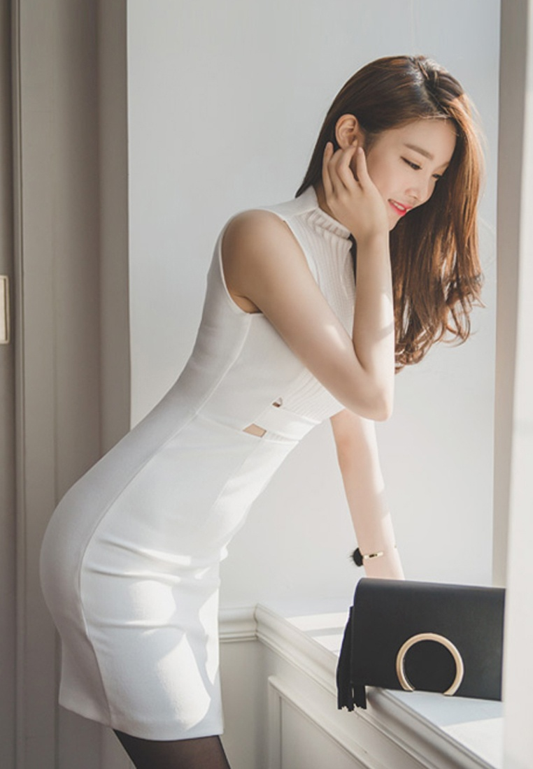 S CA041809W Piece White Dress Sleeveless White S New Sunnydaysweety One Illusion 2018 g75qCnww