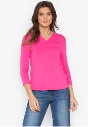 MARKS & SPENCER pink Long Sleeve Popover Top CC5E0AA60A0D53GS_1