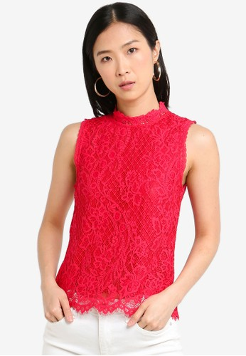 Forever New red Sleeveless Lace Shell Top 53E87AA0D5A250GS_1