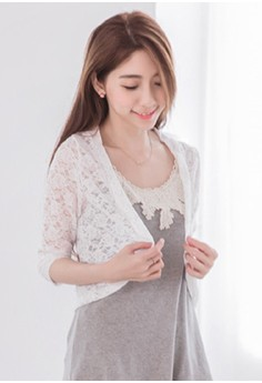 [IMPORTED] Simple Cropped Lace Cardigan - White