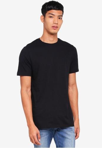 Burton Menswear London black Black Longline Fit Crew Neck T-Shirt AB223AA0C81C6EGS_1