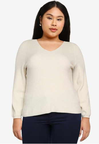 Only CARMAKOMA beige Plus Size Atija V-neck Long Sleeves Knit Sweater C6ACCAA5320D77GS_1