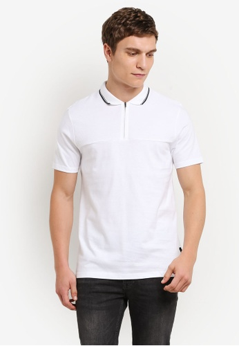Burton Menswear London white White Zip Neck Polo Shirt BU964AA0S5MTMY_1