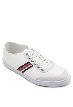Mixed Material Sneakers With Grosgrain Side Details