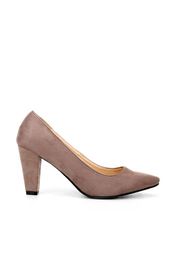 KissXXX brown Classic Suede Leather Camel Pointed Pump Heels KI688SH2VNBEHK_1