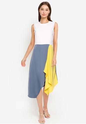 ZALORA WORK multi Colourblock Asymmetrical Hem Dress BC108AA97A572EGS_1