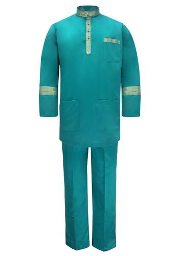 Pacolino green Baju Melayu Cekak Musang with pants For Kids - EBM1801 (Green) E5DCDKA0D53347GS_1