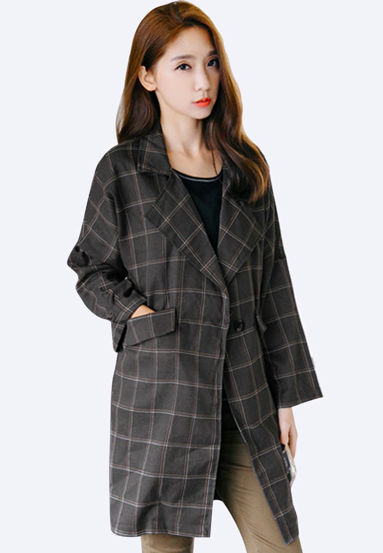 Plaid So Sleek Long Jacket