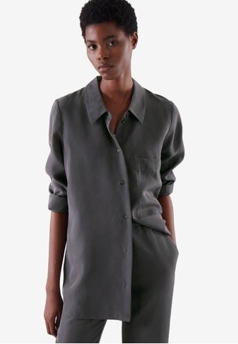 COS grey Longline Silk Shirt 8913AAA50173FCGS_1