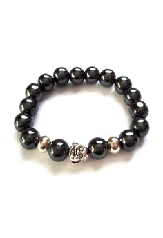 Feng Shui Hematite Silver Plated Laughing Buddha Bracelet