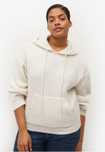 Violeta by MANGO white Plus Size Hooded Knit Sweater F8652AA6736393GS_1